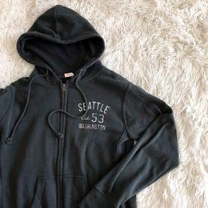 MV SPORT green hooded zip up sweater w/thumb holes